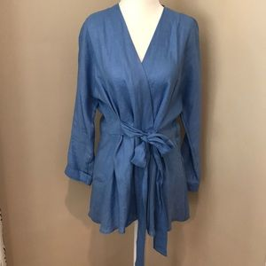 Zara Blouse with Tie Blue Linen Wrap Jacket